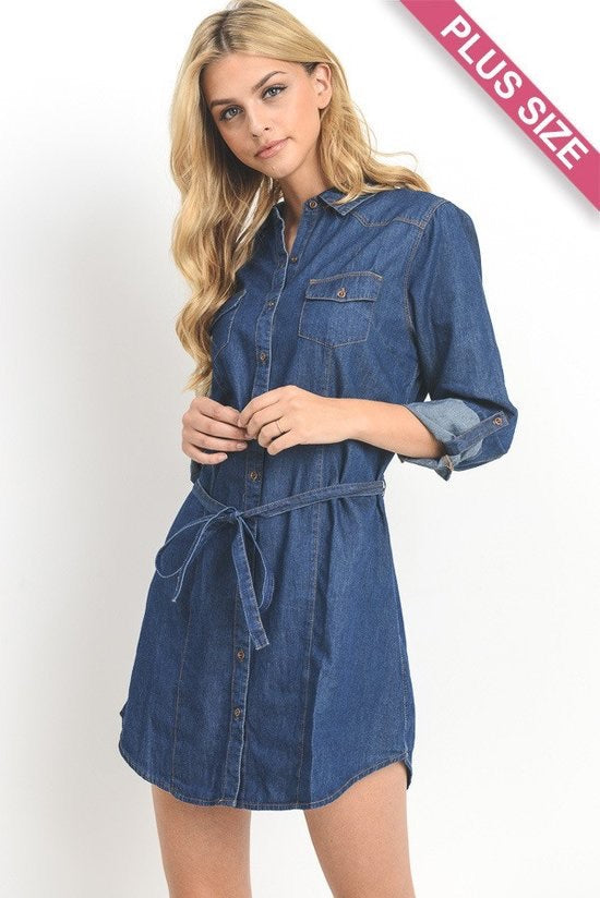Long Sleeve Chambray Shirt with Belt- Plus - Brass Pocket Boutique