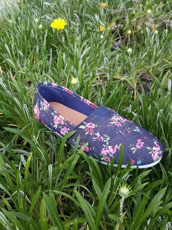 Flower Print Denim Slip-On Shoe - Brass Pocket Boutique