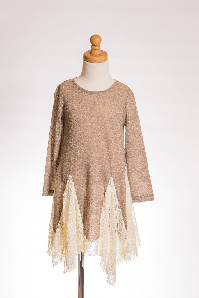 Taupe Lace Insert Long Sleeve Tunic - Brass Pocket Boutique