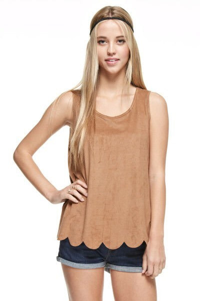Coral Suede Tank Top - Brass Pocket Boutique