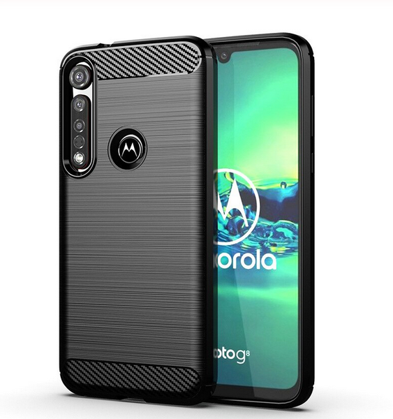 Motorola Moto G8 Plus Case Carbon Fibre Black