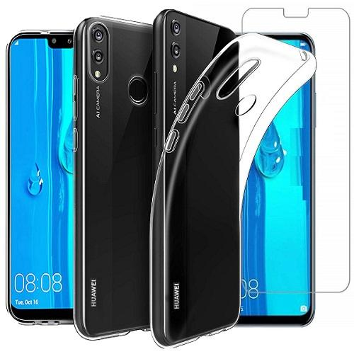 Huawei Y9 (2019) Case Clear Gel Cover & Tempered Glass Screen Protector - That Gadget UK