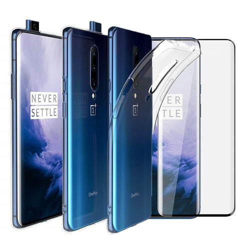 OnePlus 7 Pro Case Clear Gel Cover & Full Glass Screen Protector - That Gadget UK