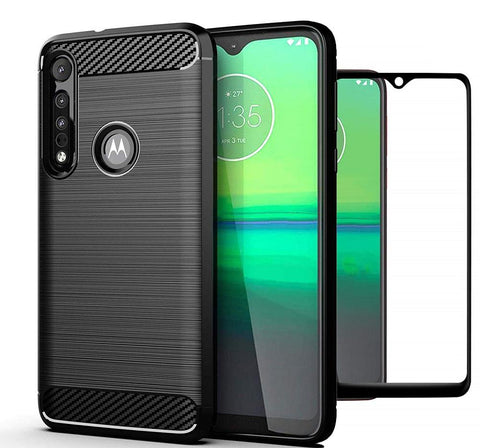 Motorola Moto G8 Play Case Carbon Fibre Black & Full Glass Screen Protector