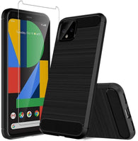 Google Pixel 4 Case Carbon Fibre Black & Glass Screen Protector