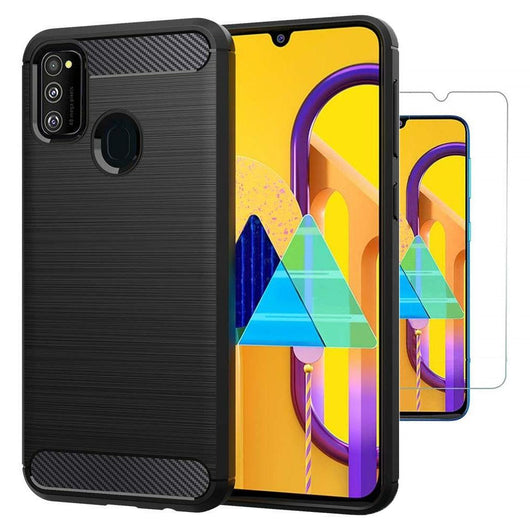 TGPro Samsung Galaxy M30s Case Carbon Fibre Black & Glass Screen Protector