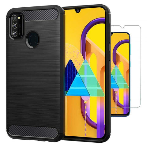 Samsung Galaxy M30s Case Carbon Fibre Black & Glass Screen Protector
