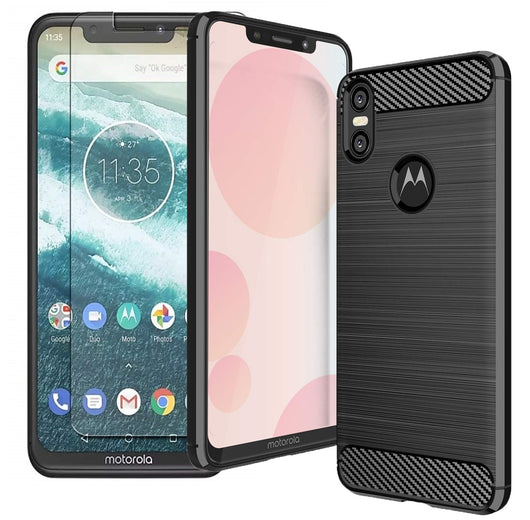 Motorola One Case Carbon Fibre Black & Glass Screen Protector - That Gadget UK