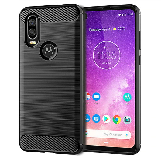 TGPro Motorola One Action Case Carbon Fibre Black