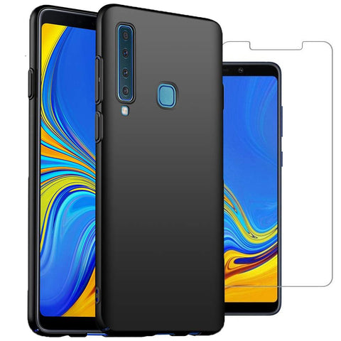 Samsung Galaxy A9 (2018) Case Soft Gel Matte Black & Glass Protector - That Gadget UK