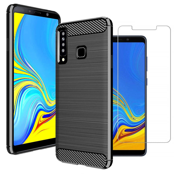 Samsung Galaxy A9 (2018) Case Carbon Fibre Black & Glass Screen Protector - That Gadget UK