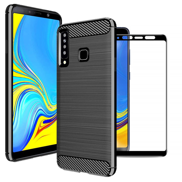 Samsung Galaxy A9 (2018) Case Carbon Fibre Black & Full Glass Screen Protector - That Gadget UK