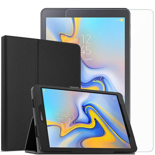 Samsung Galaxy Tab A 10.5 Case Folio Black & Tempered Glass Screen Protector