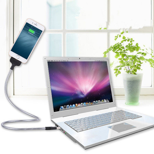 Lazy Bracket Charging Cable Anti-Fracture Car Dock Flexible Stand Up Phone Data Cable +Coiled Holder in One for  Android