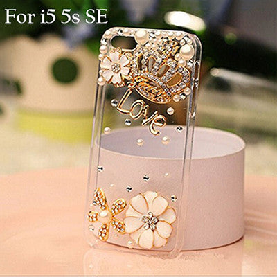 Rhinestone Flower Case for iPhone Models