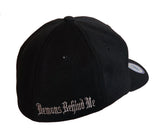 NEW Black Flexfit Never Fade Fitted Hat - Red Stitch Maltese Cross