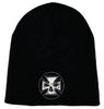 Black Embroidered Beanie - White Stitch Cross