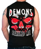 Men's Big Skull Black Cut-off T-Shirt - Red, White, Gray Ink