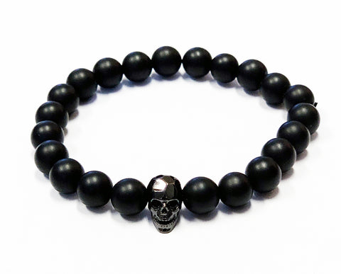 Unisex Demons Behind Me Blessing Beads Bracelet - Rose Gold Skull - Matte Black Beads