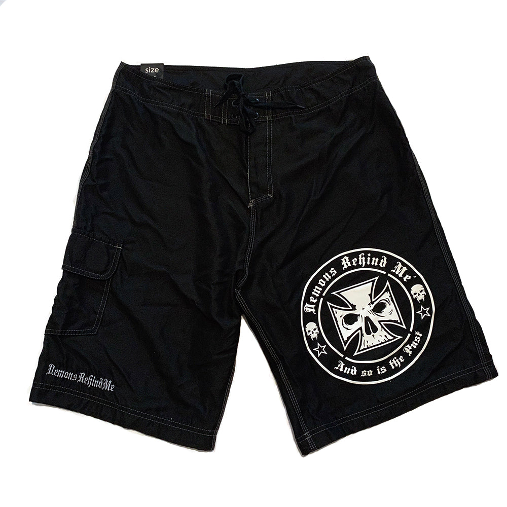 NOW AVAILABLE! Black Embroidered Board Shorts