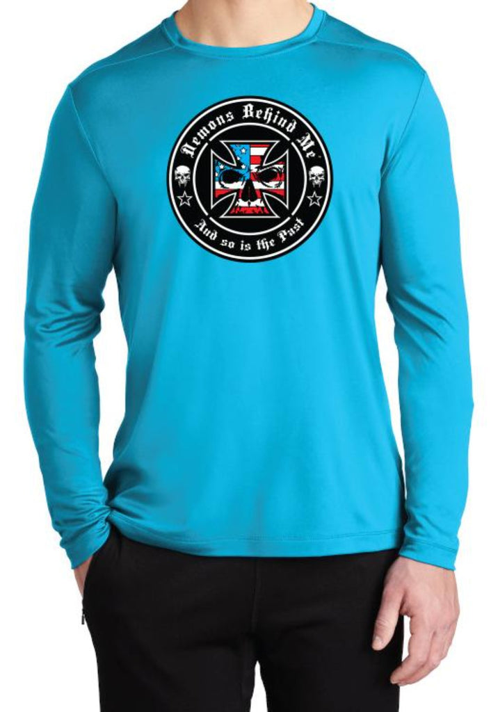 NOW AVAILABLE Unisex Blue Sport-Tek Light-Weight UV Long Sleeve T-Shirt - Red, White & Blue Ink