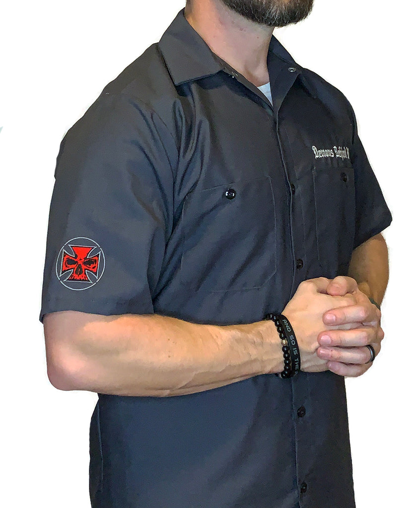 NEW! Men's Embroidered Charcoal Shop Shirt - Red Stitch Maltese Cross