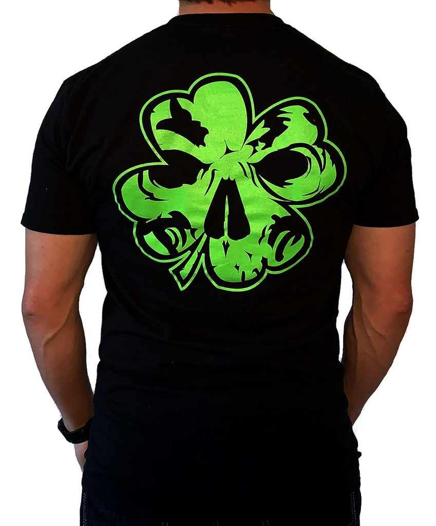 NEW! Ultra-Soft, Light-Weight Men's Black T-Shirt - Neon Green Shamrock