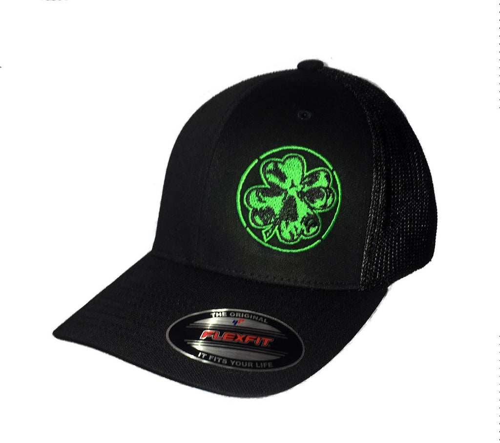 Black & Green Shamrock Fitted Trucker Hat