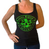 New! Women's Premium Black Tank Top - Neon Green Clover