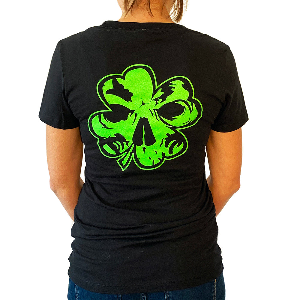 NEW! Women's Premium Deep V Black T-Shirt - Neon Green Clover
