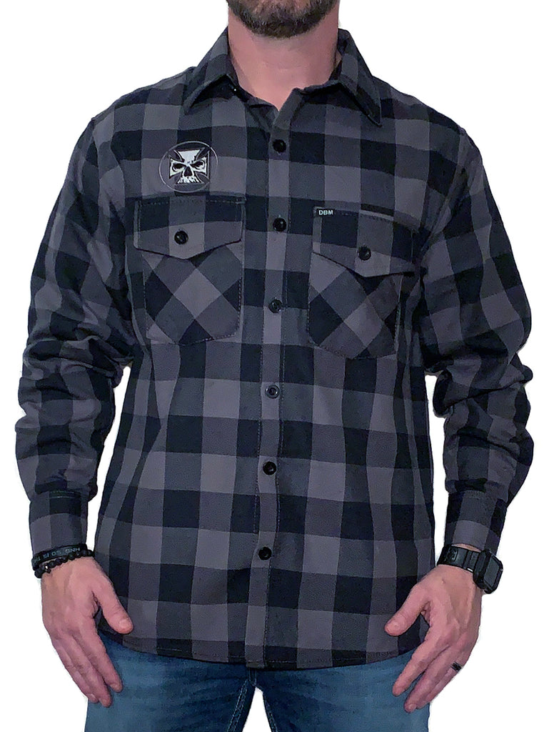 Charcoal & Black Embroidered Flannel 2.0 - White Stitch Cross