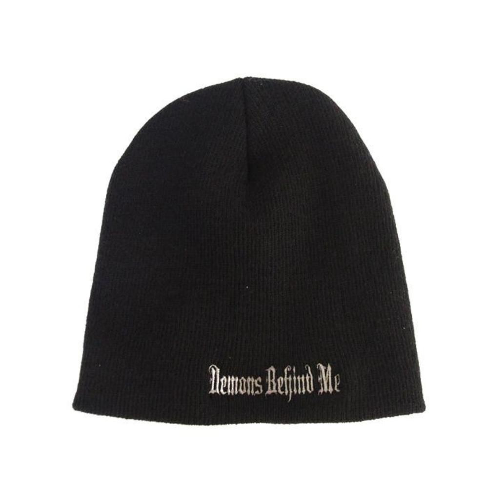 Black Embroidered Beanie - Golden Stitch Cross