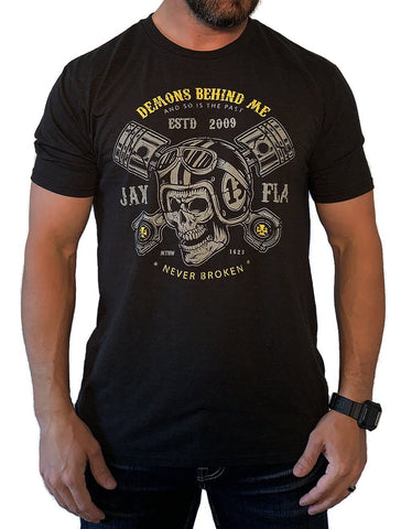 NOW AVAILABLE! Helmet & Pistons Light-Weight T-Shirt (White)