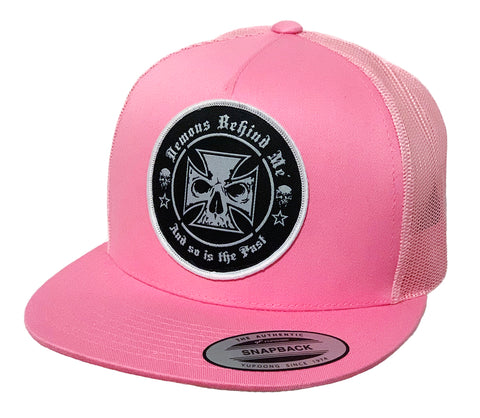 NEW! Black Embroidered Beanie - Neon Pink Stitch Maltese Cross