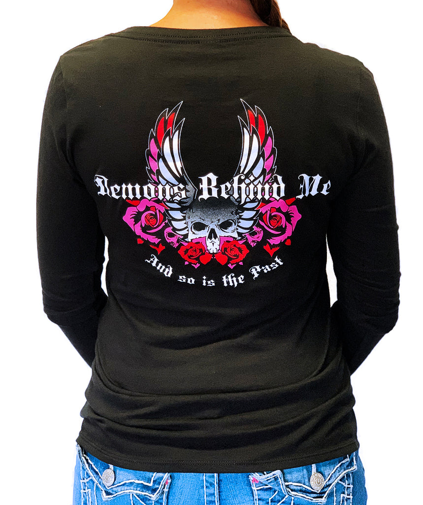NEW! Women's V Neck Black Long Sleeve T-Shirt - Red & Neon Pink Wings & Roses 2.0