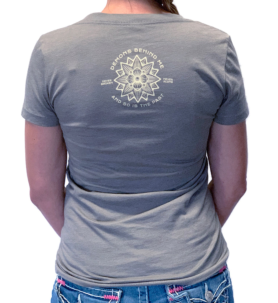 NEW! Women's Premium Deep V Warm Grey T-Shirt - Lotus Design