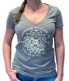 NEW! Women's Deep V Warm Grey T-Shirt - Lotus Design