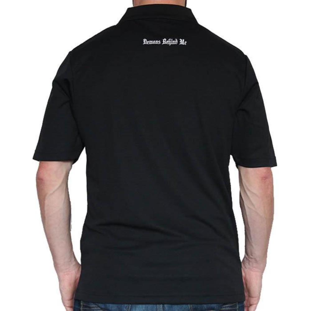 Men's Dry Fit Embroidered Black Golf Polo - White Stitch Cross