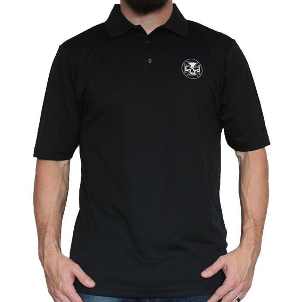 Mens Dry Fit Embroidered Black Golf Polo - White Stitch Cross