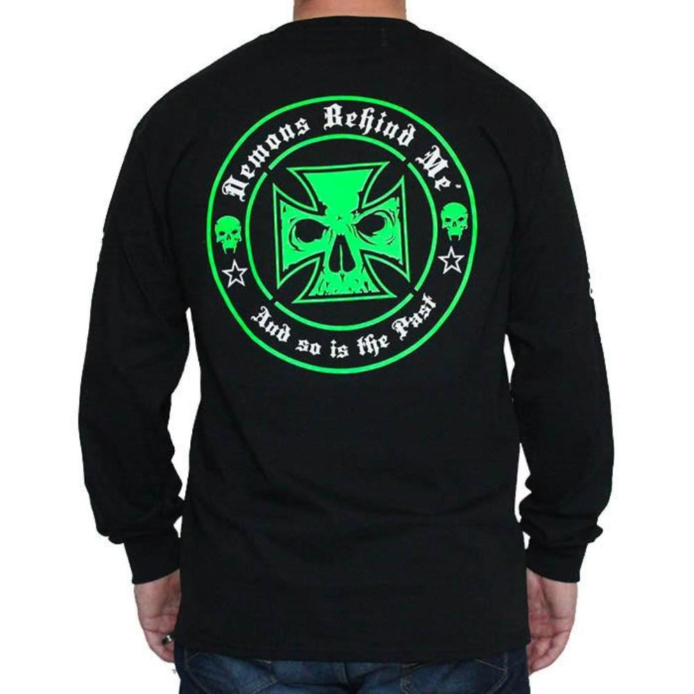 CLOSEOUT Men's Black Long Sleeve T-Shirt - Green & White Ink