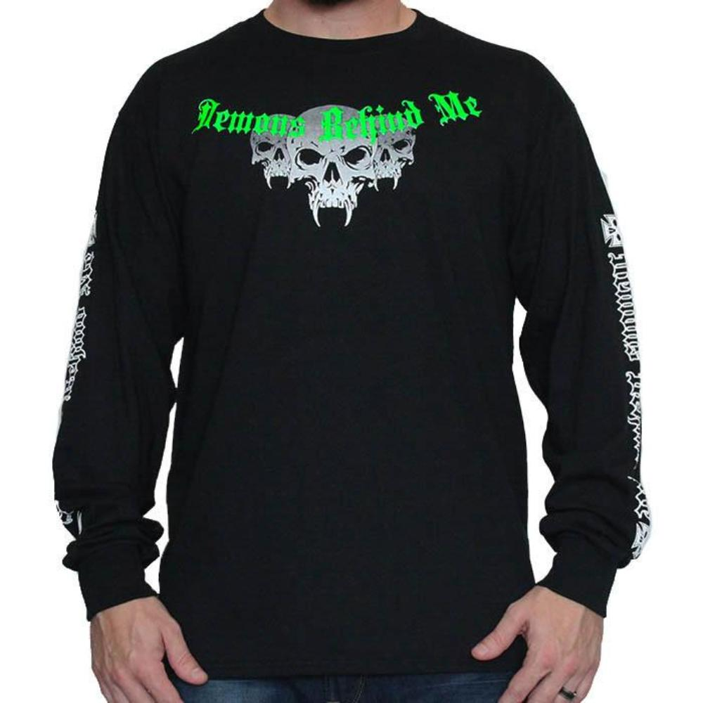 Mens Black Long Sleeve Tee - Green & White Ink