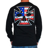 Mens Black Long Sleeve Tee - Red, White & Blue Ink