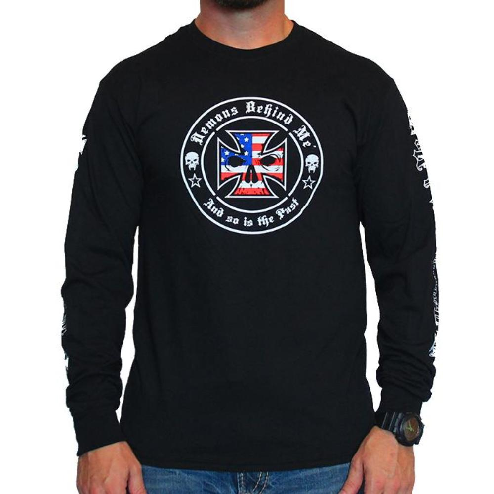 Men's Black Long Sleeve T-Shirt - Red, White & Blue Ink
