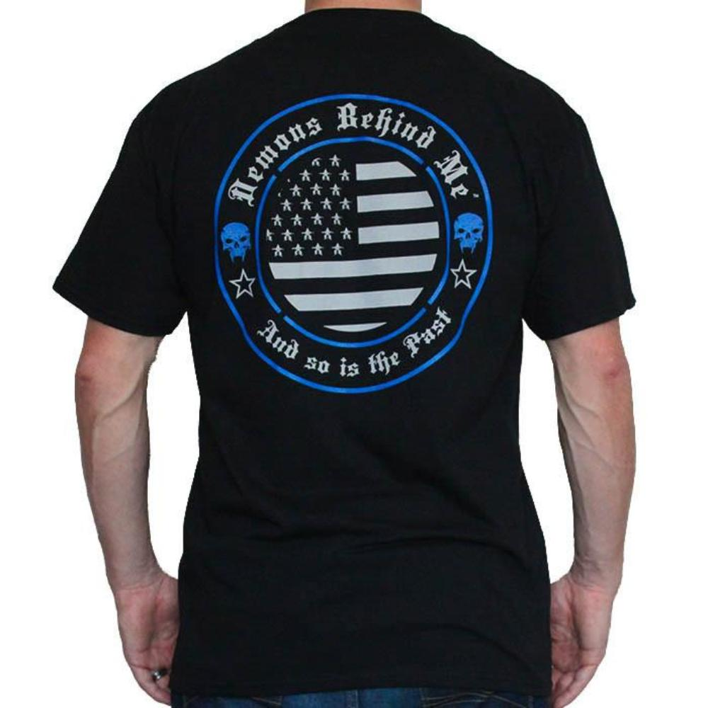 Men's Black T-Shirt - Salute to Those Who Serve - Blue