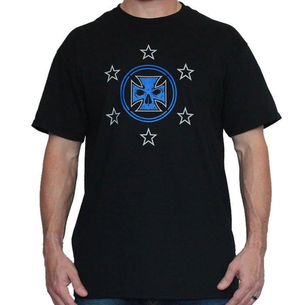 Mens Black Tee Shirt - Royal Blue Ink American Flag