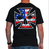 Mens Black Tee Shirt - Red, White & Blue Ink