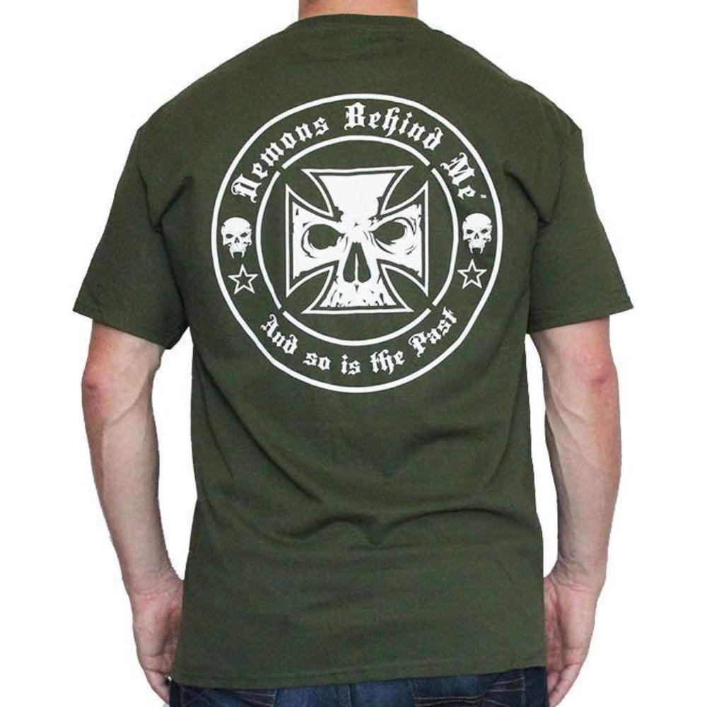 Mens Army Green Tee Shirt - White Ink