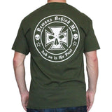 Men's Army Green T-Shirt - White Ink