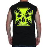 Mens Black Cut-off Tee Shirt - Neon Yellow Ink