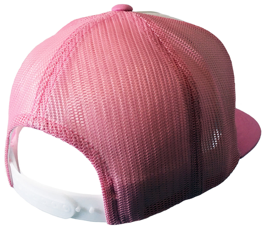 Pink & White Flexfit Classic Trucker Hat w/ Embroidered Patch